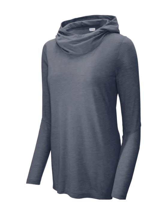 Ladies PosiCharge ® Tri-Blend Wicking Long Sleeve Hoodie